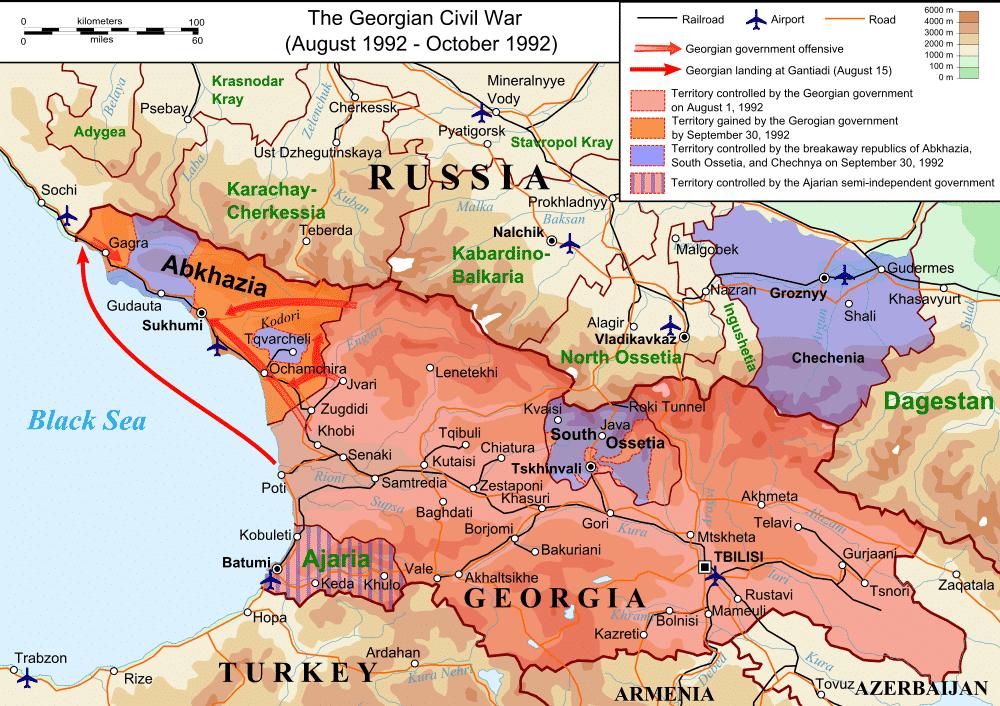 Oorlog woedt in Zuid-Ossetië en Abchazië