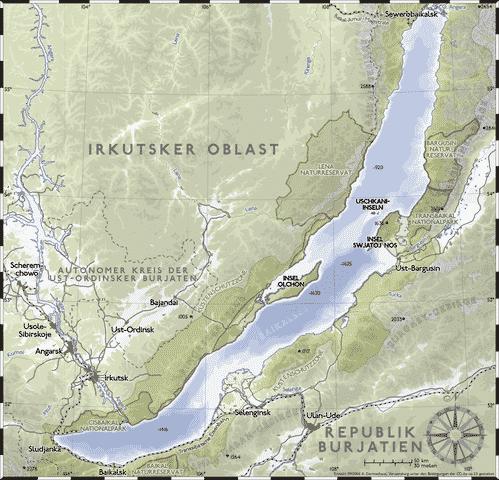 Kaart van het Baikalmeer