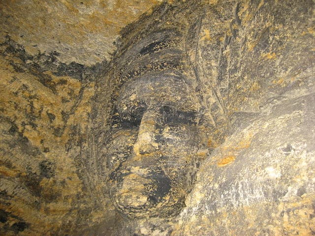 Muurschildering in de catacomben