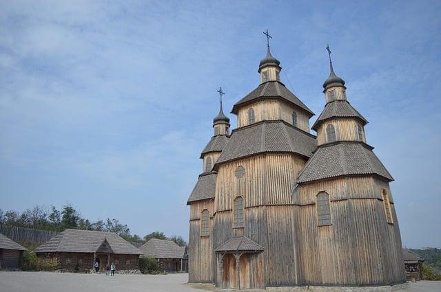 'Zaporizhian Sich' op het eiland Khortytsia